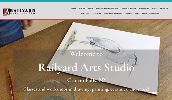 Suncoast Website Design for Railyard Arts Studio